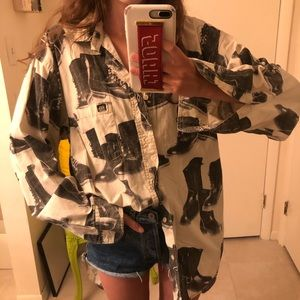 Vintage Sixty Combat Boot Printed Blouse